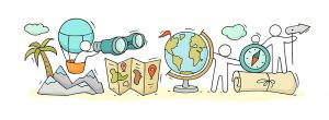 Sketch,Of,Geography,Class,With,Working,Little,People.,Doodle,Cute