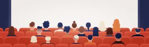 People,Sitting,In,Movie,Theater,Or,Cinema,Hall,And,Looking