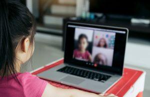 Little,Asian,Girl,Attending,To,Online,E-learning,Platform,Class,From
